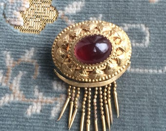 Antique Victorian Gilt Brass + Garnet Cabochon Paste Pendant Sweetheart Brooch