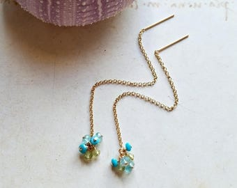 Blue Green Threader Earrings, Sleeping Beauty Turquoise Threaders, Blue Green Gemstone Cluster:  Ready to Ship