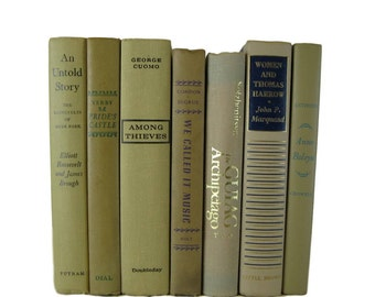 Decorative Book Set in Shades of Tan for Bookshelves by Color, Cloth Covers