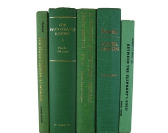 Books by Color, Green  Decorative Books, Rustic Farmhouse Decor, Housewarming Gift, books by color, decor books, book set, accent books