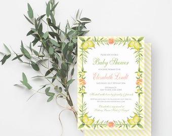 Lemon Baby Shower Invitation, Watercolor Lemons, Peonies, Gender Neutral, Baby Sprinkle, Yellow, Green, Coral, Pink, 828