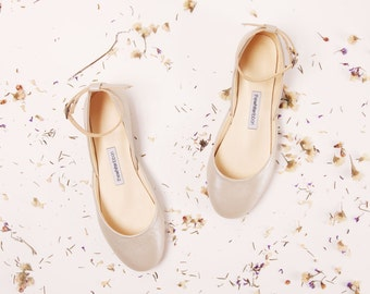 The Mary Janes in Champagne | Flat Wedding Ballet Flats  | Bridal Shoes in Champagne ... Limited Edition ... Made to Order