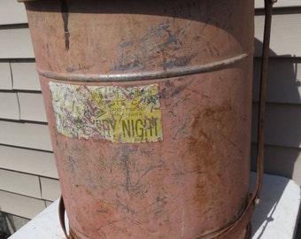 Vintage Metal Industrial Red Trash Can