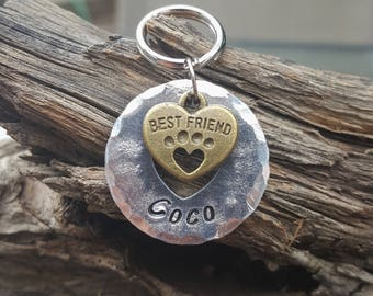 Pet ID Tag, Dog Tag, Personalized Pet Tag, Dog Collar Charm, Pet Name Tag, Heart Tag, Best Friend Pet ID Tag, Custom Pet ID Tag