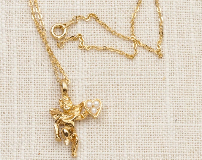 Angel Necklace Vintage Gold Pearls Heart Shiny Chain Costume Jewelry 7L