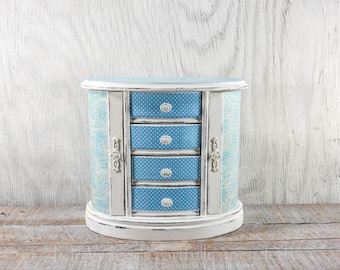 Shabby chic Jewelry box, jewelry organizer, hand painted distressed decoupage decorative papers and creamy white chalk paint