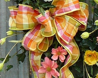 Summer Plaid Wreath Bow - Bow Only Made with Summer Plaid Linen, Pink Green Yellow Plaid Bow