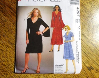 BOHO Angel Sleeved Fit and Flare Dress - EASY Gown for Stretch Knits - Choose Your Size - UNCUT ff Sewing Pattern McCalls 4297