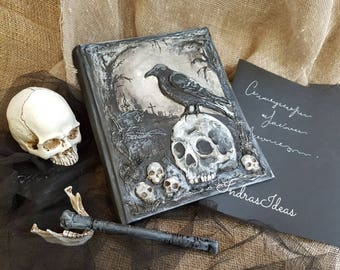 Black Raven on a Skull, Book of Shadows Spell book, black paper, Magic Grimoires, Spell Books, Witchcraft, Pagan book, Rituals book, Witch