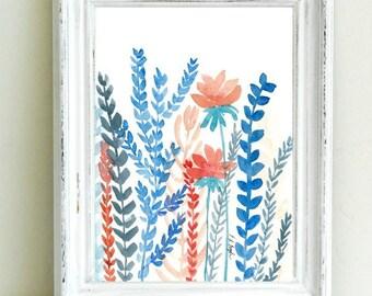 coral watercolor flowers, blue ferns, original watercolor painting, 9x12, botanical art, boho decor, orange and blue, original art, fine art