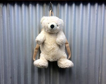 Polar Pack -- Backpack made from the body of a fluffy white bear -- Aurora
