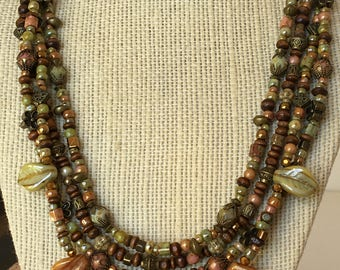 Fall Leaves multi strand beaded necklace