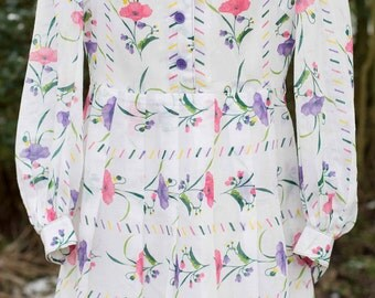 1960's floral pattern dress with long sleeves