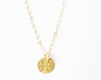 PISCES Necklace / Zodiac Charm Necklace- Hand stamped- 14k gold filled, Sterling Silver