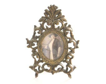 BRASS FRAME, Vintage, Art Nouveau Inspired, Ornate, Hollywood Regency Picture Frame with Glass & Kicker, Victorian Decor Wedding Table Decor