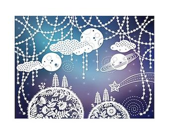 Outer Space - 5x7 Print - Original Papercut Illustration - Fine Art Print