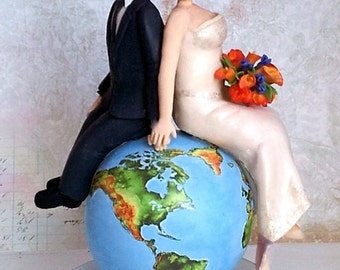 Wedding Cake Topper - Around the Globe