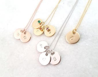 BIG SALE!! Personalized Gift,  Initial Necklace, Birthstone Necklace, Family Tree Necklace, mom Gift for sister monogram hand stamped