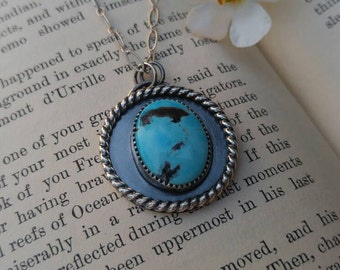 """Blue Royston Turquoise and Sterling Silver Necklace. Round Blue Pendant. Message On the Reverse 'be brave' on 18"""" chain. Inspirational."""