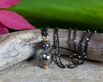 DIAMOND NECKLACE - tahitian pearl necklace - blackened silver chain - south sea pearl necklace - wedding jewelry - pearl necklace