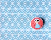 Jane Austen pin, illustrated button for the Jane Austen addicted