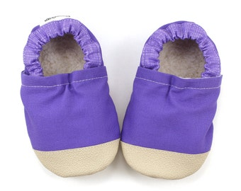 purple baby shoes, purple booties, rubber soles, rubber toes, soft sole shoes, purple moccs, toddler shoes, vegan, purple baby clothing