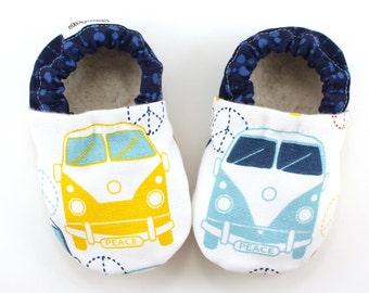 volkswagen baby shoes hippie baby road trip tula booties soft soles shoes hippie van vegan baby shoes VW baby clothes hippie shoes for baby