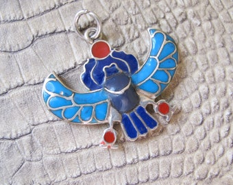 Egyptian Enamel Winged Scarab Sterling Silver Pendant Talisman, Symbol Eternity, Fertility, Good Fortune. Auspicious Jewelry. Scarab Beetle