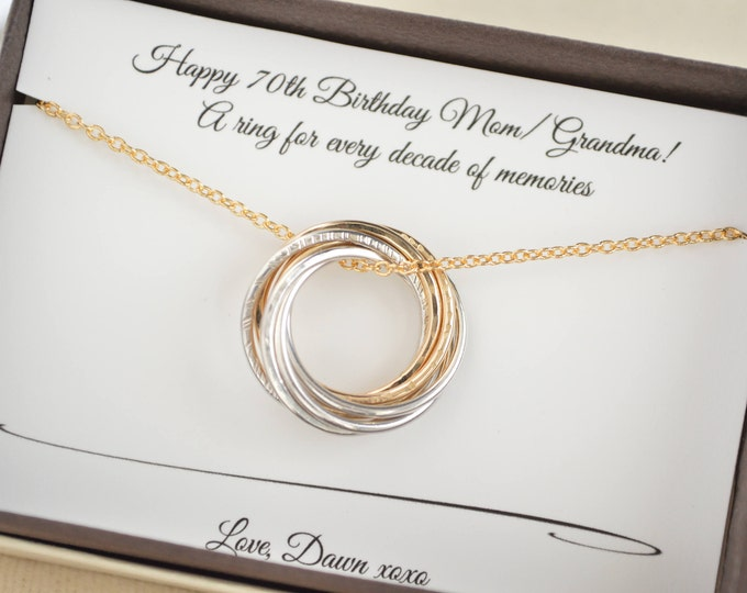 70th Birthday gift for Mom and grandma necklace, 7th Anniversary gift for wife, Mixed metals necklace, 70th Birthday gift for women, 7 Rings