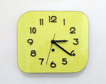 French 1950-60s Atomic Age Formica Wall Clock - Canary Yellow - Free form Shape - Formica Wall Clock -Great Working Condition