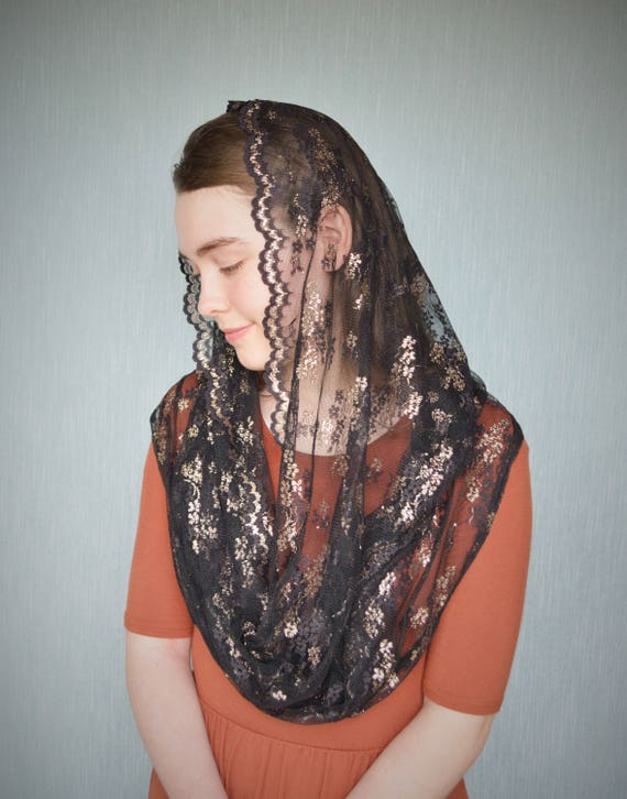 Black and Gold Lace Chapel Veil | Infinity Veil Catholic Chapel Veil Mantilla Catholic Mantilla Black Veil for Mass Veil Robin Nest Lane