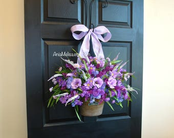 spring wreath spring wreaths for front door wreaths purple wreath front door decor pink white flowers & vases floral container