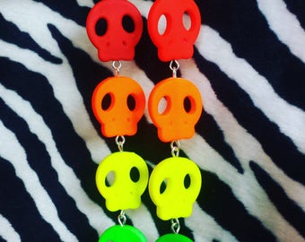 Creepy Cute Neon Skull Halloween Earrings
