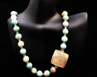 Agate and Swarovski Crystal Necklace