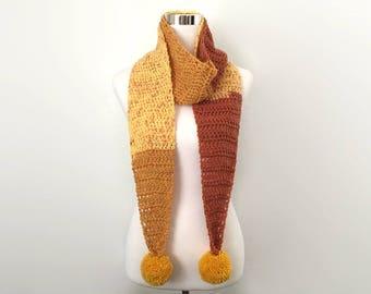 butterscotch pop crochet pom pom scarf