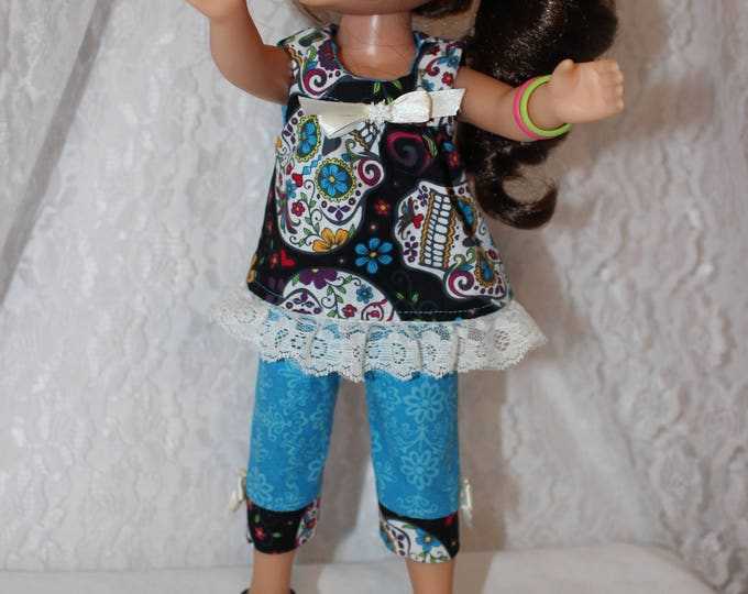 Back to School, Sculls Print Top and Blue Capri's/Black Sparkly Shoes/Bows to fit the wellie wisher and Heart to Heart doll FREE SHIPPING