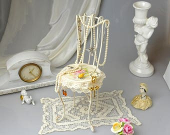 Shabby Chic  Jewelry Display Doll Chair Metal Jewelry Holder French Cottage Chic Decor Shabby Rose Vanity Table Decor