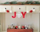 Joy Banner, Christmas Banner, Joy, Snowflake, Gold, Silver, Felt, Reusable, Pom Pom, Mantle Decoration, Nordic Snowfall, Winter, Entryway