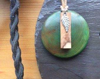Irish green wooden, Birch and Silver leaf pendant