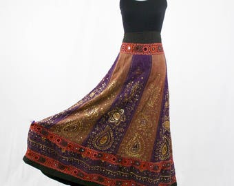 Vintage Boho Festival Maxi Skirt Mirrors, Sequins, Embroidered