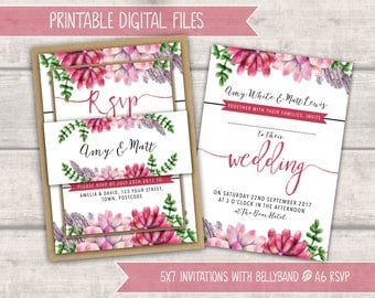 PRINTABLE Wedding Invitation Bundle - Pink Succulents - Personalised Digital Files - Rustic Wedding - Calligraphy Lettering - DIY Wedding