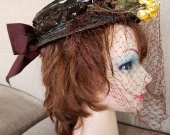 "Vintage '40s Womens's ""Wilshire NY"" Designer Veiled Hat"