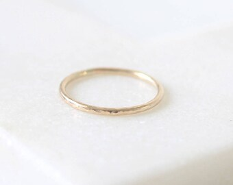 Micro-hammered Ring • 9K Rose, White or Yellow Gold