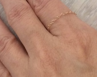 14k Gold Chain Ring, Gold Ring, Thin Ring, Stack Ring, Chain Ring