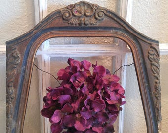 """BEAUTIFUL Antique Gesso Wooden Carved Roses Scrolls Appliques Frame 18""""X11"""""""