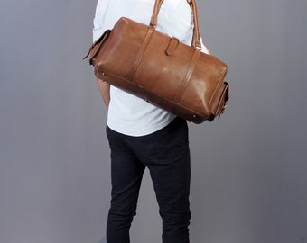 The bowling bag: vintage style brown leather holdall duffel gym weekend overnight bag luggage unisex mens personalized gift monogram