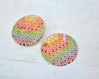 Colored pencils big rainbow handmade hoop earrings