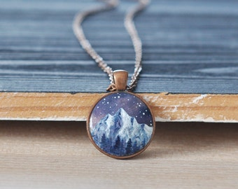 Mountains pendant, Handpainted necklace, Outdoor, Adventure jewelry, Nature, Hiking, Nature lovers gift, For Her, Snowboarding, Mountain