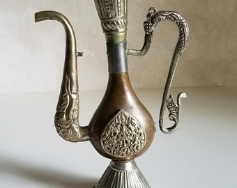 Vintage Decorative Tibetan Teapot, Intricate Copper Brass and Silver Arabic Dallah, Vintage Collectibles Made in India, Vintage Boho Decor