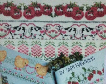EMBRODIERY PATTERN BOOKLET/Cross Stitch Kitchen Borders/Produced By Rita Weiss/1990/16 Borders Designs